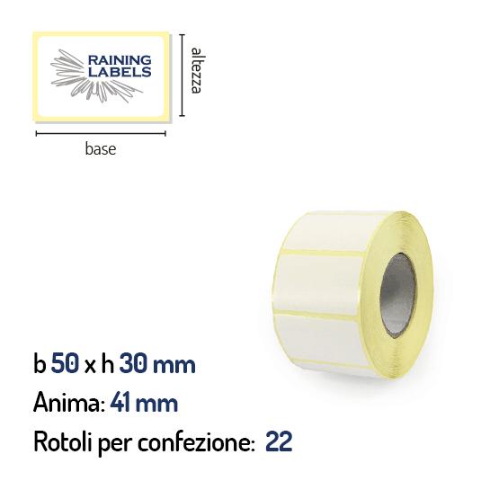 Etichette termiche dirette 50x30 mm anima 41 mm