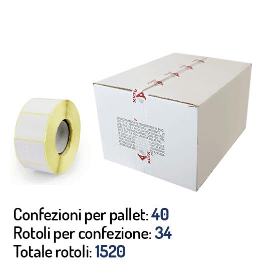 Stock di etichette a trasferimento termico 50x25 mm anima 41mm - rotoli e confezioni