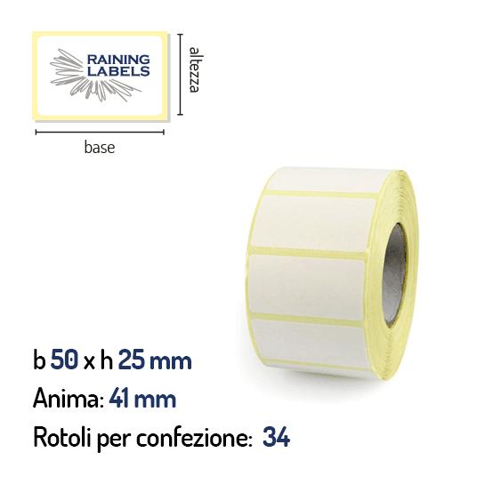 Stock di etichette a trasferimento termico 50x25 mm anima 41mm