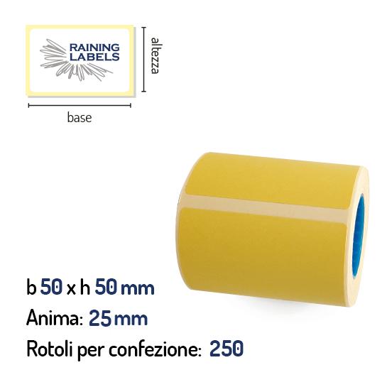 Confezione da 250 rotoli di etichette termiche gialle 50×50 mm anima 25