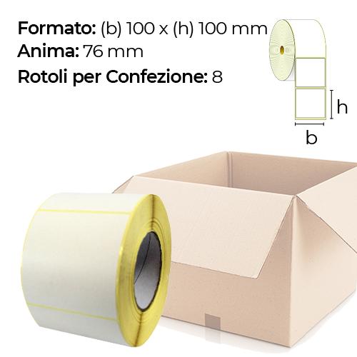 Confezione da 8 rotoli di etichette a trasferimento termico 100×100 mm Ø 76