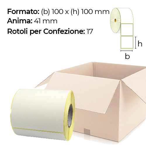 Confezione da 17 rotoli di etichette a trasferimento termico 100×100 mm Ø41