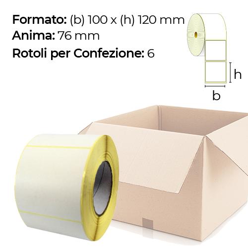 Confezione da 6 rotoli di etichette a trasferimento termico 100×120 mm Ø 76