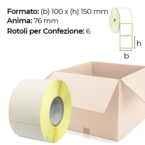 Confezione da 6 rotoli di etichette a trasferimento termico 100×150 mm Ø 76