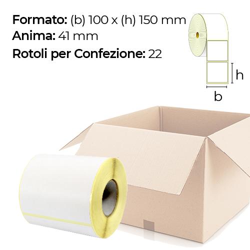 Confezione da 22 rotoli di etichette a trasferimento termico 100×150 mm Ø41