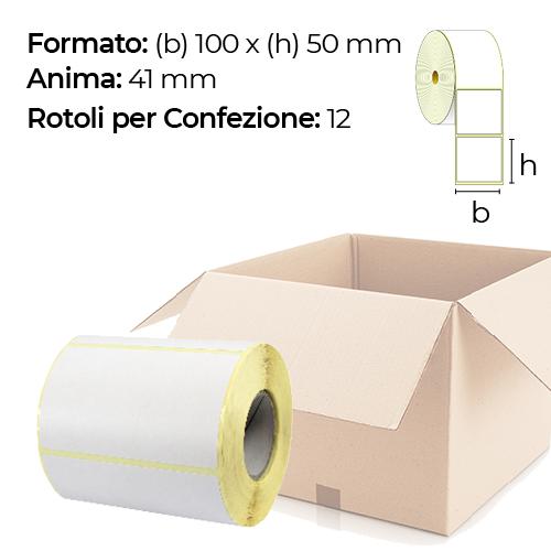 Confezione da 12 rotoli di etichette termiche 100×50 mm Ø 41