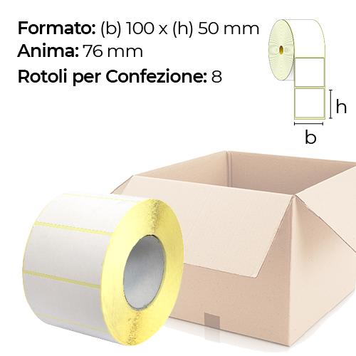 Confezione da 8 rotoli di etichette a trasferimento termico 100×50 mm Ø 76