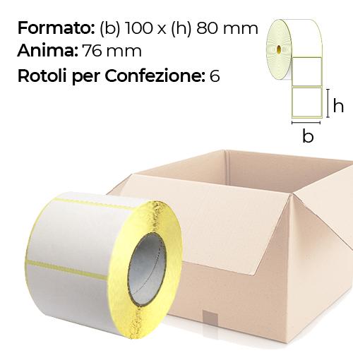 Confezione da 6 rotoli di etichette a trasferimento termico 100×80 mm Ø 76