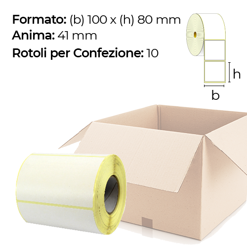 Confezione da 10 rotoli di etichette a trasferimento termico 100×80 mm Ø 41
