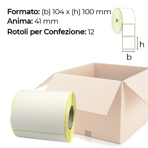 Confezione da 12 rotoli di etichette a trasferimento termico 104×100 mm Ø 41