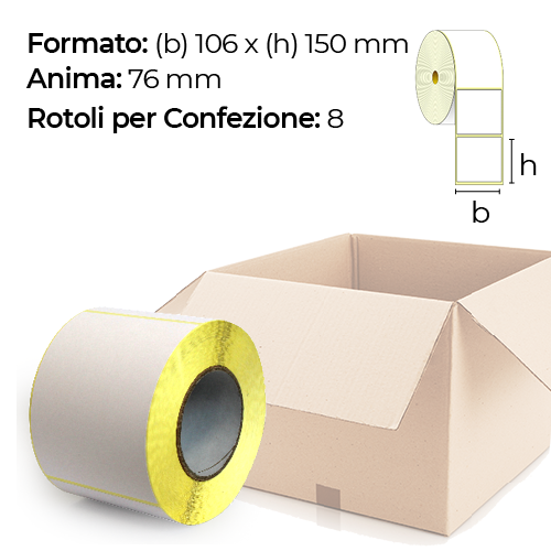 Confezione da 8 rotoli di etichette a trasferimento termico 106×150 mm Ø 76