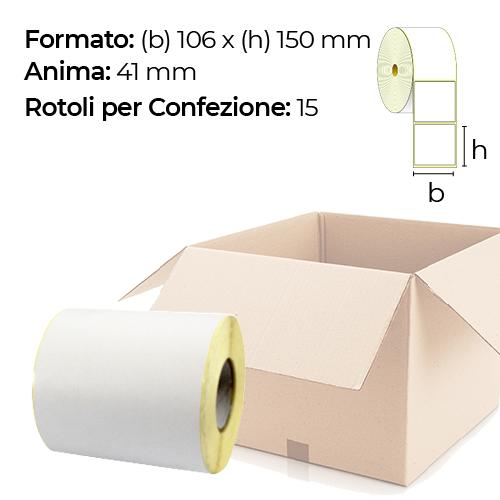 Confezione da 15 Rotoli di etichette 106 x 150 mm anima 41 mm