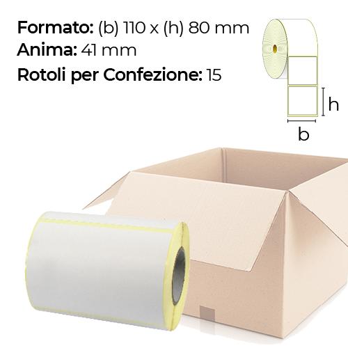Confezione da 15 rotoli di etichette a trasferimento termico 110×80 mm Ø41