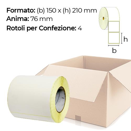 Confezione da 4 rotoli di etichette a trasferimento termico 150×210 mm Ø76
