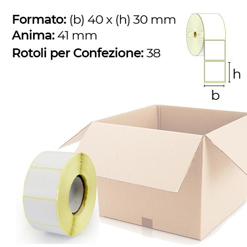 Confezione da 38 rotoli di etichette a trasferimento termico 40×30 mm Ø 41