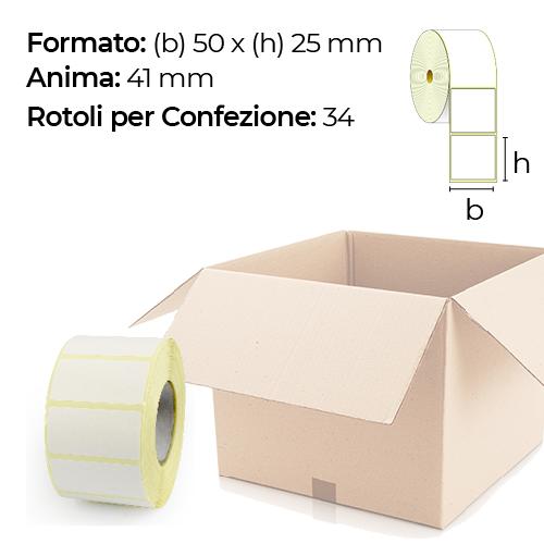 Confezione da 34 rotoli di etichette a trasferimento termico 50×25 mm Ø 41