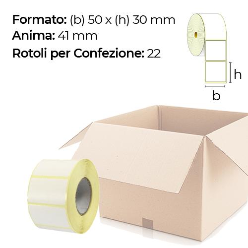 Confezione da 22 rotoli di etichette termiche 50×30 mm Ø 41