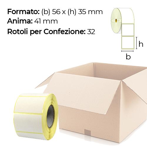 Confezione da 32 rotoli di etichette a trasferimento termico 56×35 mm Ø 41
