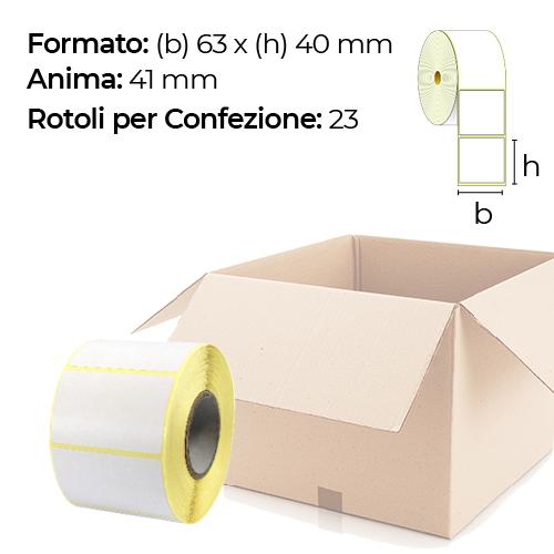 Confezione da 23 rotoli di etichette a trasferimento termico 63×40 mm Ø 41