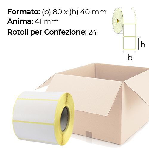 Confezione da 24 rotoli di etichette a trasferimento termico 80×40 mm Ø 41